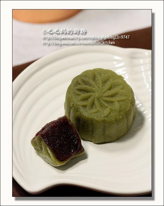 绿茶豆沙冰皮月饼1 绿茶豆沙冰皮月饼