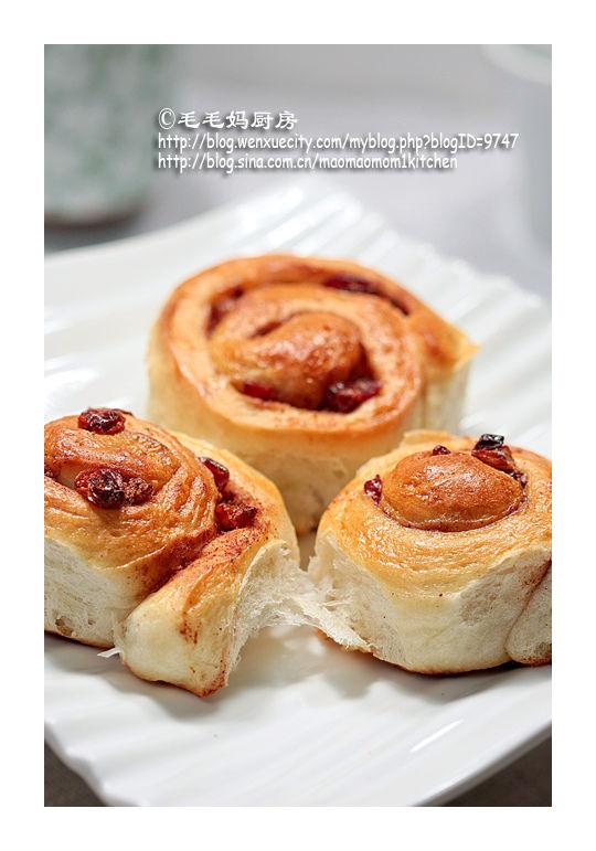 肉桂葡萄蔓越莓干小面包卷1 柔软好吃的早餐  【肉桂葡萄蔓越莓干小面包卷】