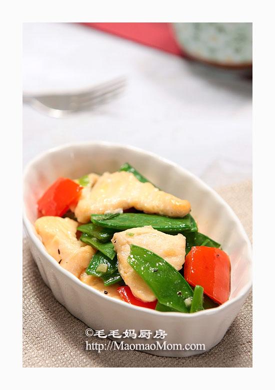 雪豆三文鱼片2 海鲜菜谱