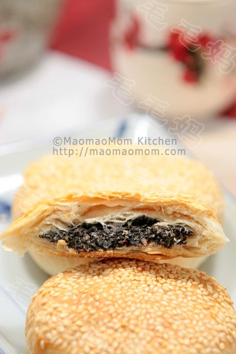 玫瑰黑芝麻馅烧饼Shaobing with black sesame and rose jam filling
