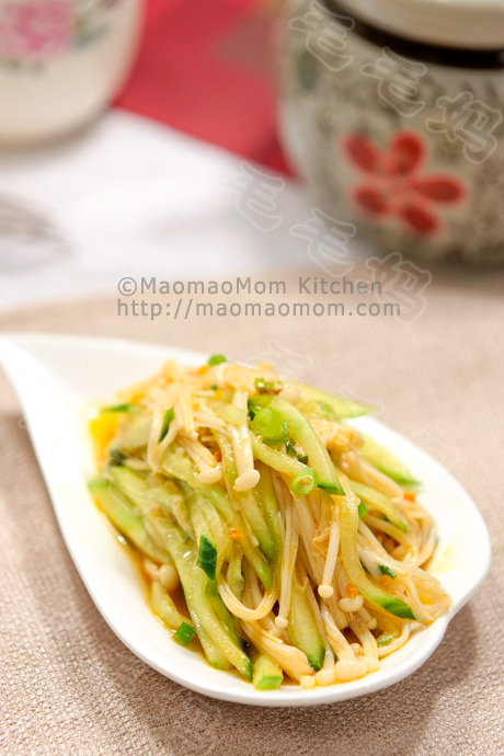 凉拌黄瓜金针菇 Cucumber and Enoki salad