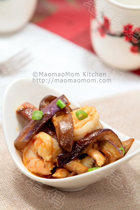 ... Eggplant and shrimp Stir Fry in fermented soy bean sauce