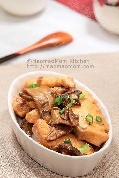 牛肝菌炒三文鱼片Boletus mushroom and salmon fish stir fry
